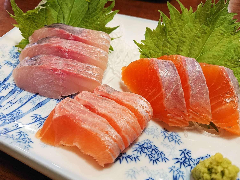 道の駅こすげの川魚刺身盛り合わせ