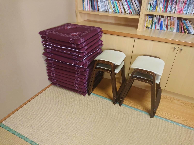 休憩室の座布団