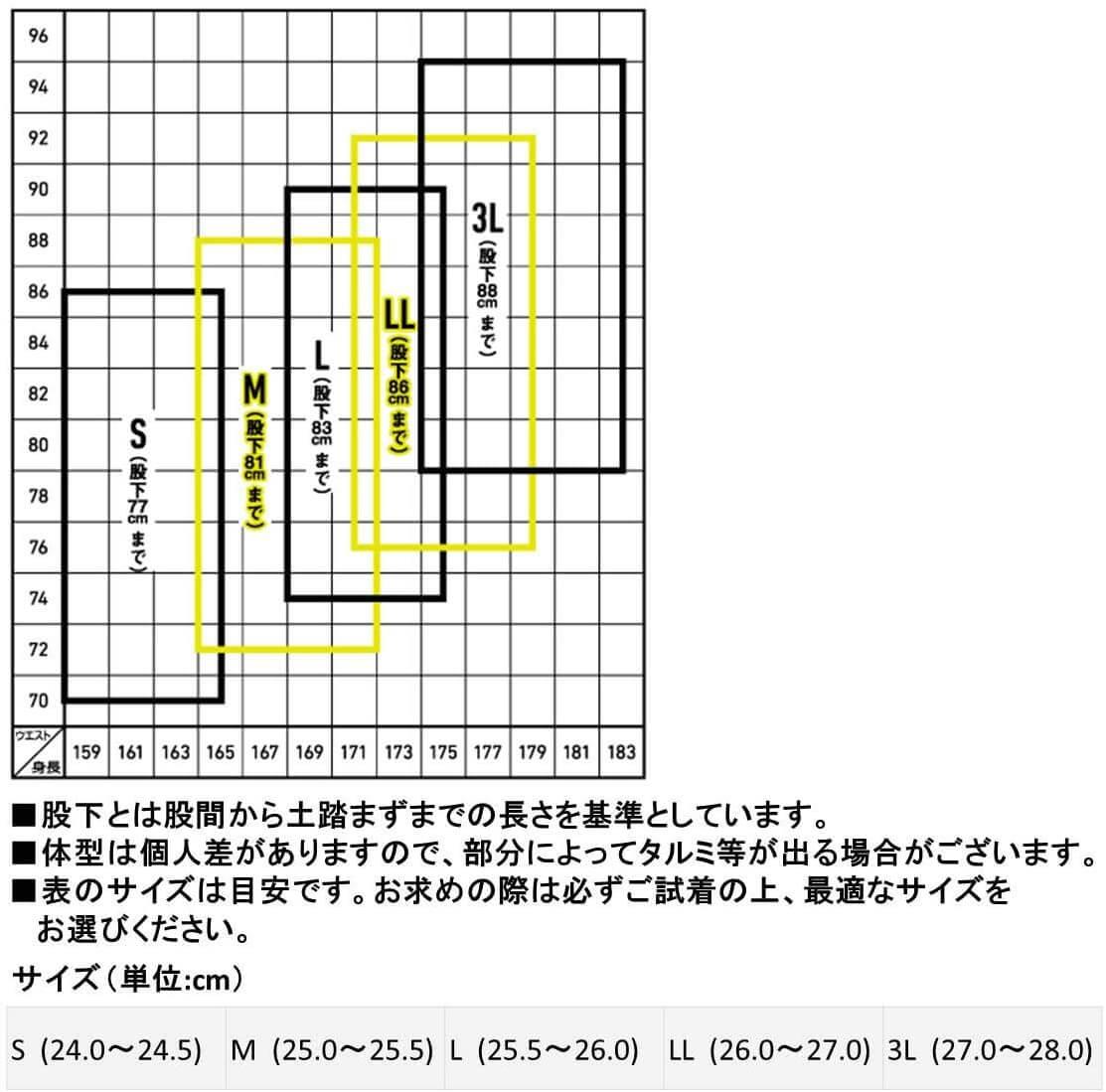 ダイワ公式のサイズ表