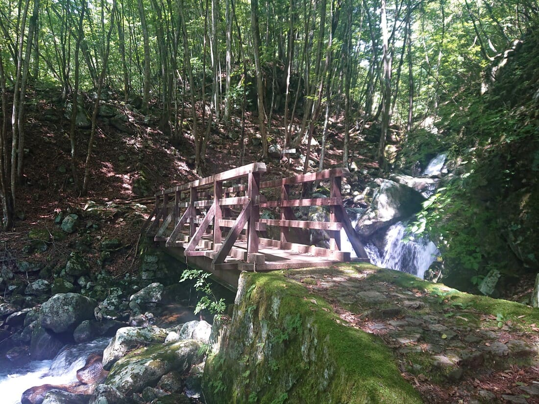 胴切の滝の目の前にかかる橋