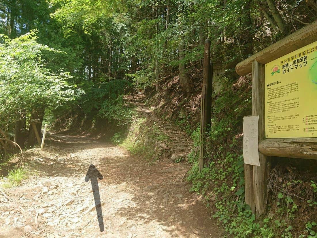 途中にある乾徳山登山道への入り口