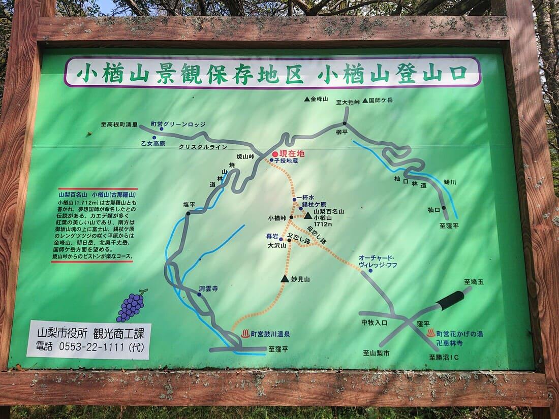 小樽山周辺の情報が書かれた看板