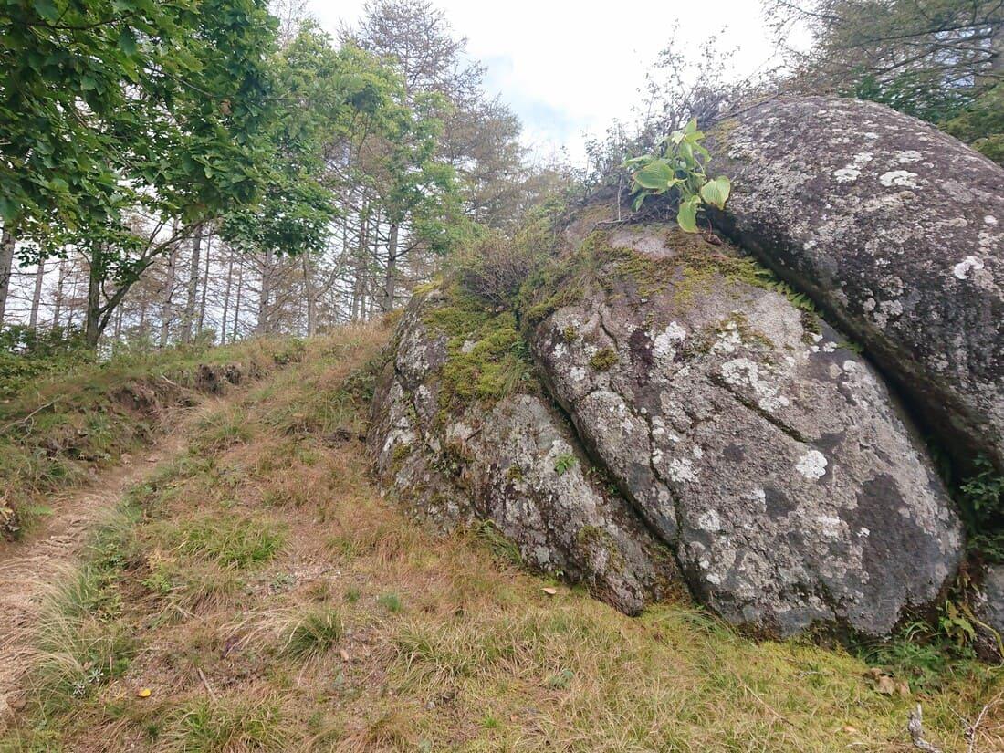 新道の途中にある変わった形の岩