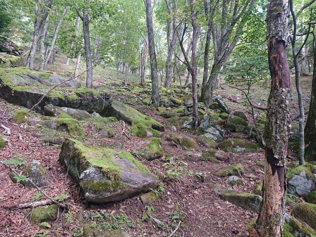急な坂道になっている岩場