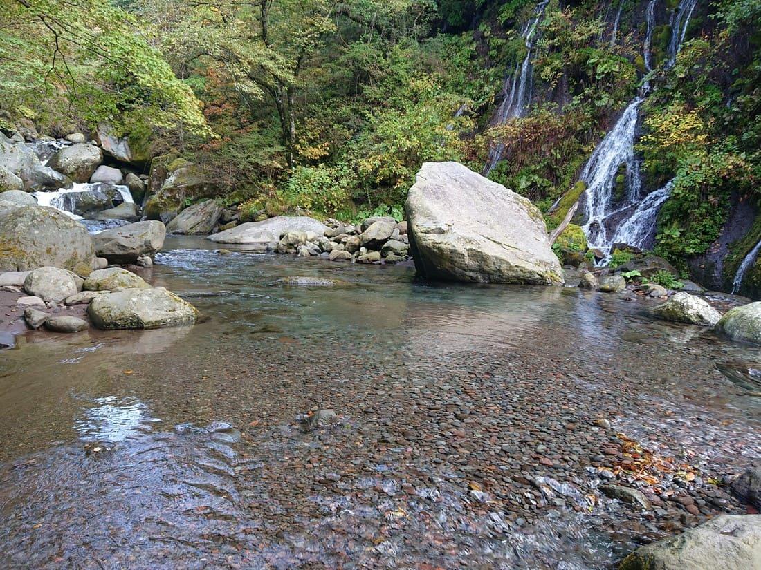 滝周辺の水の透明度