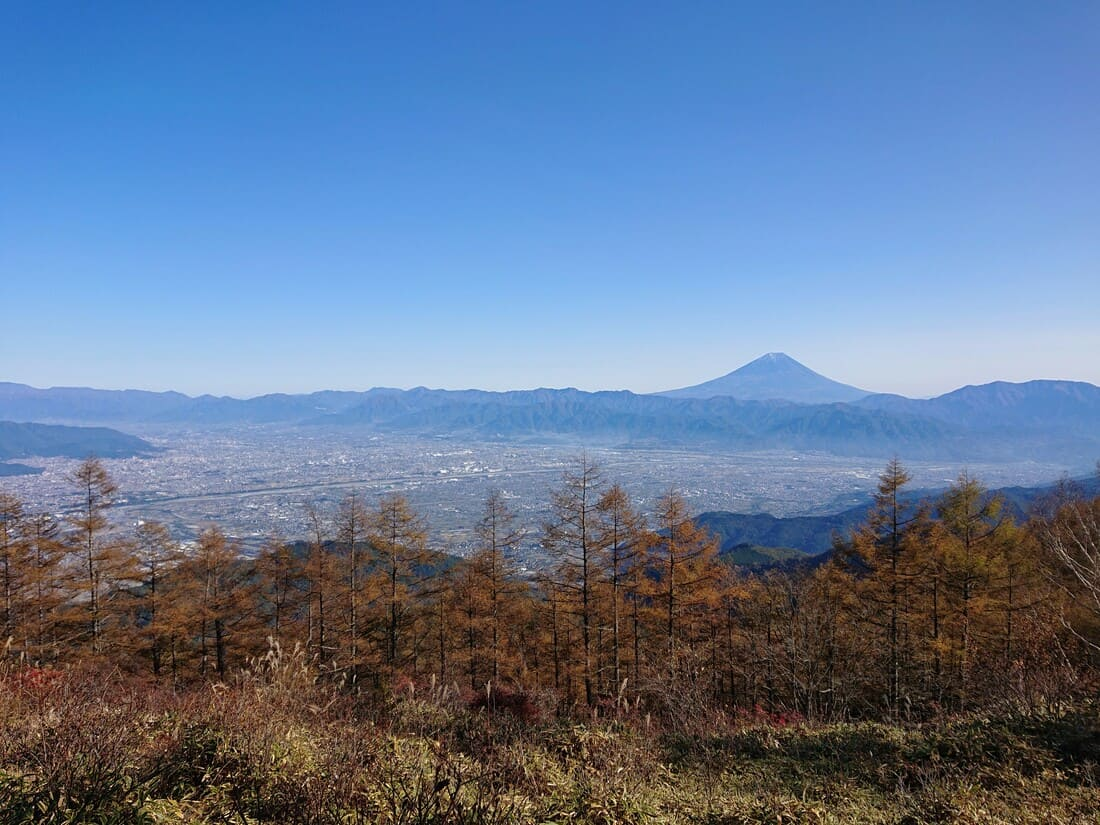 甘利山から見る甲府盆地と富士山