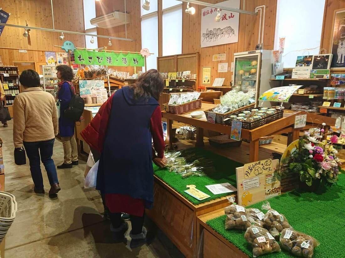 道の駅たばやまにある農産物直売所の様子
